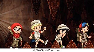 explorar, crianças, grupo, caverna, internacional