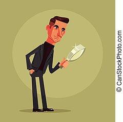 explorar, escritório, apartamento, personagem, trabalhador, ilustração, vetorial, magnifier., caricatura, homem