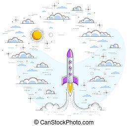 explorar, espacio, ciencia, ciencia, sky., 3d, nublado, línea, vector, lanzamiento, white., impresionante, cohete, fiction., delgado, ilustración, aislado, universo, espacio, hermoso