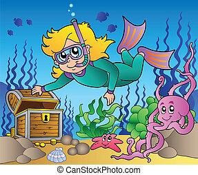 explorar, niña, esnórquel, buzo, mar