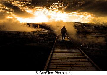 explorar, passagem, vapor, silueta, em, amanhecer, pôr do sol