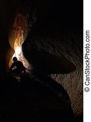 explorar, spelunker, cueva