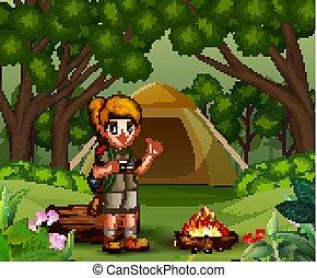 explorateur, camping, uniforme, scout, forêt, girl
