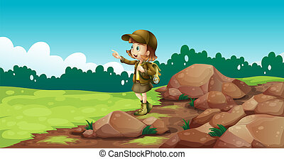 explorateur, femme, rochers