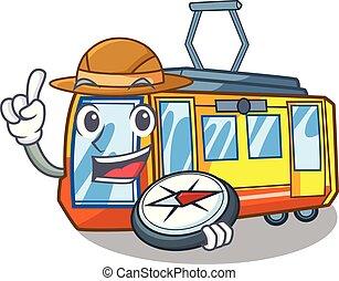 explorateur, forme, train, jouets, électrique, mascotte