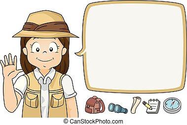 explorateur, illustration, vague, parole, girl, bulle, gosse