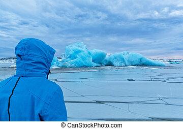 explorateur, islande, fjallsarlon, iceberg, portrait, homme