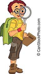 explorateur, mâle, illustration