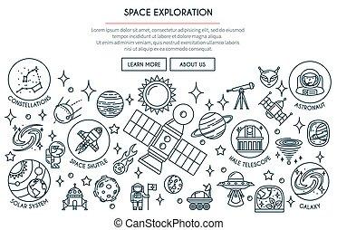 exploration, 2, bannière, espace