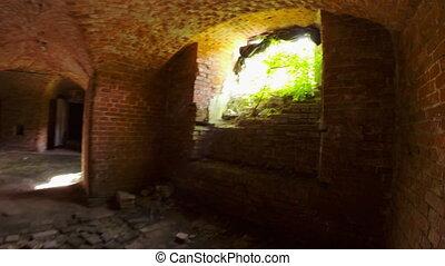exploration, brique, vieux, destructed, structure