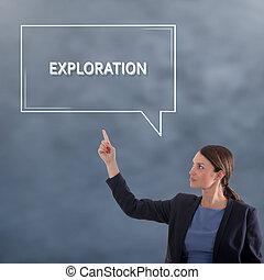 EXPLORATION Business Concept. Business Woman Graphic Concept