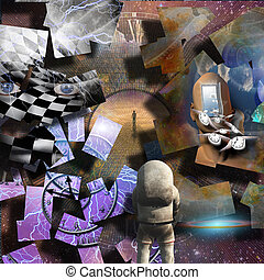 Exploration - Complex surreal painting. Spirals of time. Man...