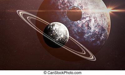 exploration., extérieur, galaxies, éléments, scène, projection, meublé, étoiles, nasa, planètes, univers, espace, beauté
