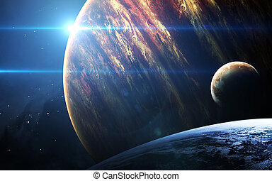 exploration., exterior, galaxias, elementos, escena, ...