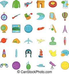 Exploration icons set, cartoon style