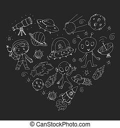 exploration., ovni, niños, rocket., jardín de la infancia, extranjero, luna, niñas, surface., juego, niños, saturno, luna, spaceship., espacio, júpiter, marte, niños