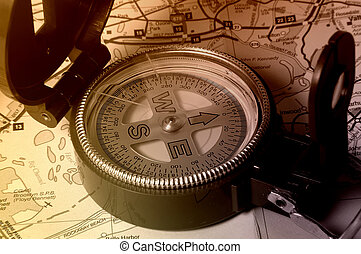 Exploration - Photo of Compass and Map