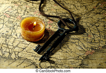 Exploration - Photo of a Vintage Map with a Candle and...