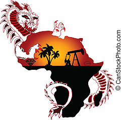 exploration - a chinese dragon wraps himself around Africa