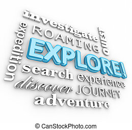 Explore 3d Word Collage Expedition Discovery Journey -...