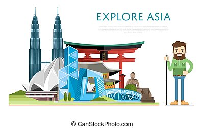 Explore Asia banner with famous attractions - Explore Asia...