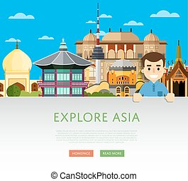 Explore Asia template with famous attractions - Explore Asia...