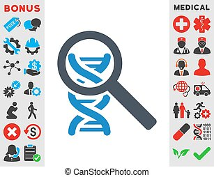 Explore Dna vector icon. Style is bicolor flat symbol, smooth blue colors, rounded angles, white background.