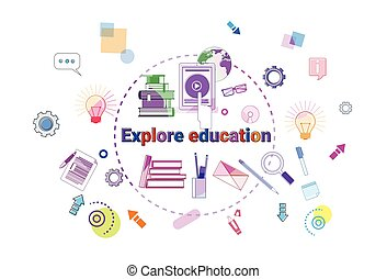 Explore Education Banner Online Study Elearning Concept