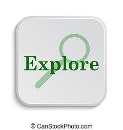 Explore icon. Internet button on white background.