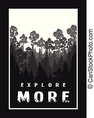 Explore more against the background of the silhouette of trees, nature on a dark background.