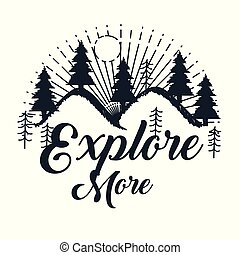 explore more hand drawn lettering poster with mountains trees sun inspirational poster