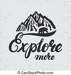 Explore more hand written lettering typography with mountains and bear silhouette.