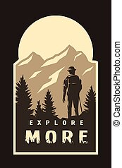 Explore more. Traveler on the background of wildlife on a dark background. Vector illustration.