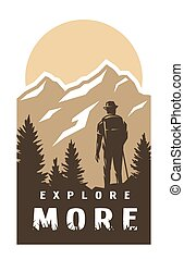 Explore more. Traveler on the background of wildlife. Vector illustration.