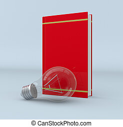 explore new ideas - one red book with a bulb, concept of...
