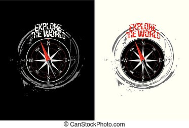 Explore the world concept. Vector illustration for t-shirt