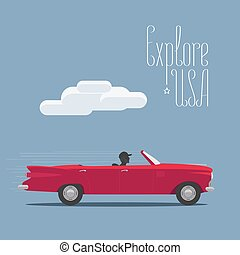 Explore USA in the car vector illustration, poster