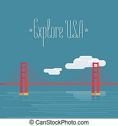 Explore USA, San Francisco image with Golden Gate bridge vector illustration