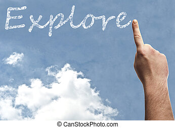 Explore word on blue sky