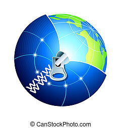 Explore World Wide World - Globe under world wide web zipped...