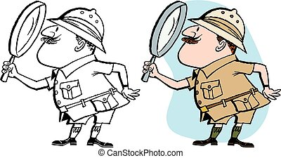 Explorer - A male explorer examines something with a...