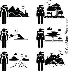 Explorer Adventure Traveller - A set of human pictogram...