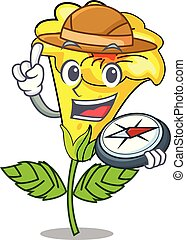 Cartoon explorer in a cooking pot h. Cartoon illustration ...