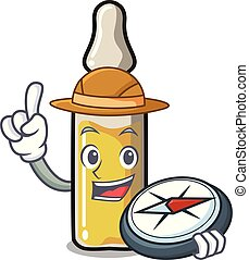 Explorer ampoule mascot cartoon style vector illustration