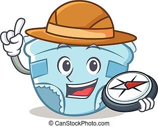 Explorer baby diaper character cartoon