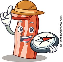 Explorer bacon mascot cartoon style vector illustration