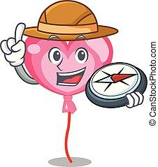 Explorer ballon heart mascot cartoon