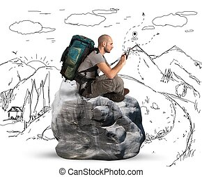 Explorer in the mountains browse the network