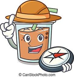 Explorer bubble tea mascot cartoon