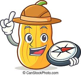 Explorer butternut squash mascot cartoon vector illustration